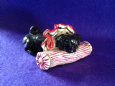 Eve Pearce Hand-Made Model - Pug with Ruff (Black) on Bolster